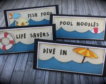 POOL/BEACH themed Food Tents...Menu Cards....Place Cards...Food Signs - set of 4