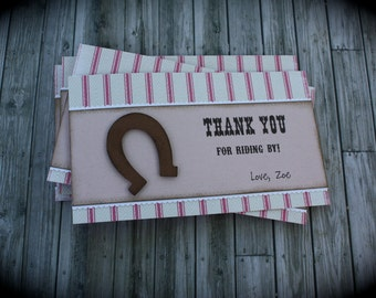 HORSEBACK-Inspired THANK YOU cards....set of 5
