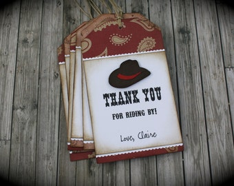 WESTERN inspired Thank You tags...set of 5