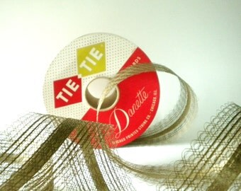 Lacy WIDE Gold Wedding or Christmas Ribbon - original vintage roll - 30 + Yards