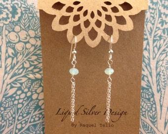 SALE Swarovski Crystal/Element Chrysolite Opal Dangle Earrings Sterling Silver Made in Hawaii. Birthday BFF Wedding Bridesmaid Gift Souvenir