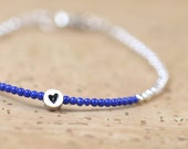 Sterling silver  and Lapis lazuli bracelet - Heart Bracelet