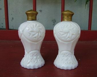 Lefton Pinwheel pattern white milk glass salt and pepper shakers