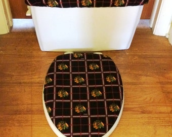 Chicago Blackhawks Toilet Seat Cover and Tank Lid Cover Set
