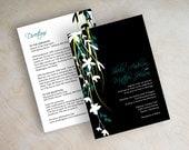 Wedding invitation, vine wedding invitations, beach wedding invites, destination, black, dark teal, cyan, lime green, free shipping, Davina