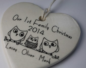 CUSTOM - Our 1st Family Christmas Ornament - your names, image and year