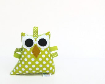 Owl Rattle Toy Plush Owl Lime Green Polka Dot Minky