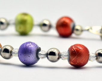 Sale / On Sale / Clearance Jewelry / Autumn Splendor Multicolor Glass with Swarovski Crystal Silver Plated Beaded Bracelet - BR00107