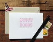 SASS-402 funny pregnancy new boobs congrats card letterpress