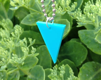 Triangle Shape Necklace in Turquoise Blue Lasercut Acrylic - Geometric Triangular Jewelry
