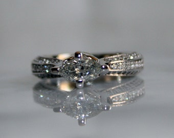 14K White Gold, Natural 1.80cts White Diamond Engagement / Wedding Ring, Free Appraisal Included