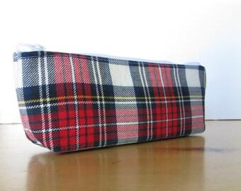 Tartan Print Pencil Case - Back to School - Hold All, Eyeglass Case