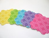 Fancy Bracket Square Tags- Quatrefoil pattern - set of 25 - You pick the color- Great for all festivities