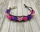 Golf Score or Stroke Counter - Clip - Black Cord with Purple and Pink Mesh Beads - Non-Elastic - 9 Beads - Knitting Row Counter