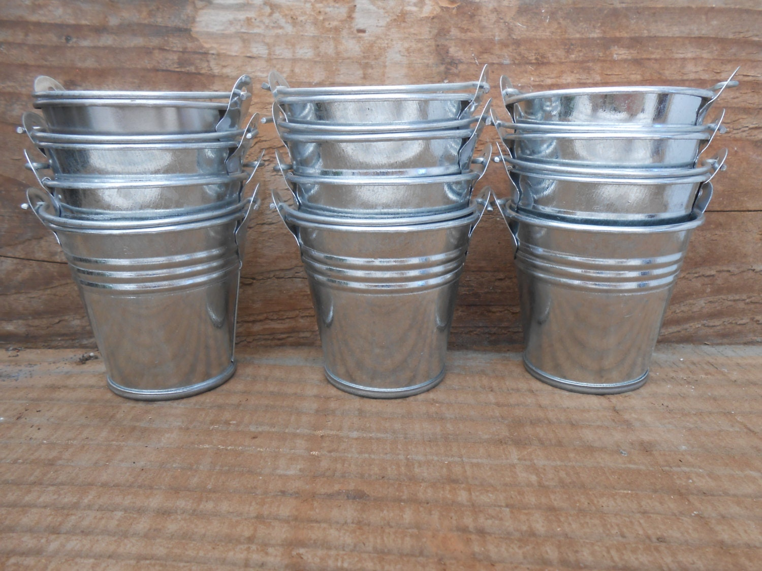 72 mini tin metal pails favor size diy weddings rustic for Small pail buckets