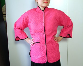 Vintage 40s 50s Lounge Jacket - 1950s Pink Asian Style Quilted bed Jacket S M L - on sale