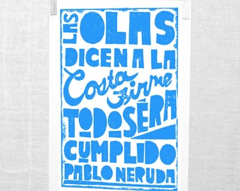 Pablo Neruda, 5x7, Ode to Hope, Spanish, Wall Art Sign, Esperanza