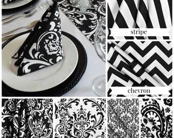 Black and White Napkins Damask Stripe Modern Chevron Black and White Wedding Table Centerpiece Set Fabric Linens Decor