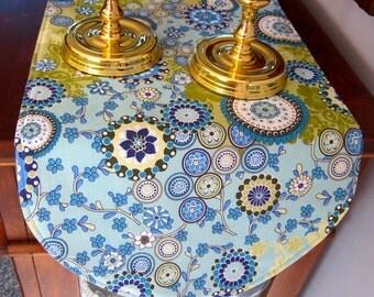 "SALE Funky Blue Green Table Runner 36"" Reversible Modern Table Runner Spirograph Table Runner Geometric Green and Blue Table Runner Retro"