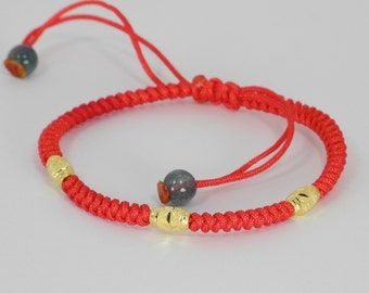 Good Luck  Red String With Pure Gold  Bracelet