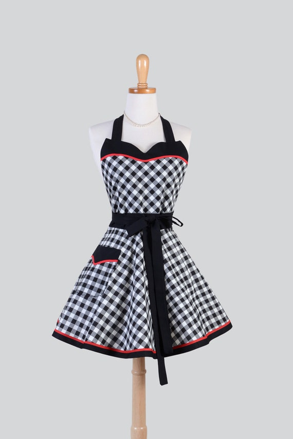 Sweetheart Retro Apron / Cute Womens Retro Apron Black and White Bias Check 1950 Diner Styling