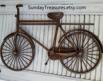 Vintage BROWN BICYCLE BIKe Metal Wall Decor / Message Board Photo Holder Retro  Shabby Beach Cottage Chic / Urban / Industrial / CLEaRANCE