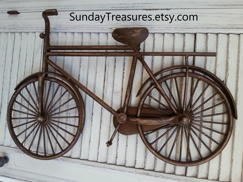Metal Wall Decor Bicycle : Vintage brown bicycle bike metal wall decor message board