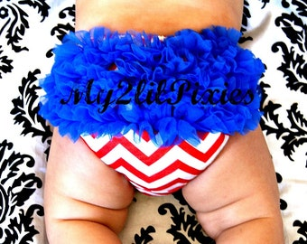 4th Of July Baby Bloomer -Red White Blue Bloomers, Chiffon Ruffle, Ruffle Bum Baby Bloomer, Bloomers, Diaper Cover, Ruffle Diaper Cover