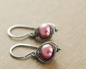 Jewel Pink Pearl Dangle Earrings Sterling Silver, Wire Wrapped Pearl Jewelry, June Birthstone Earrings, aubepine