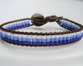 Blue Seed Beaded Leather Bracelet