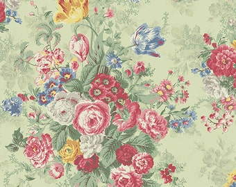 Julia  Cotton Fabric Quilt Gate MR2180-11C Floral on green