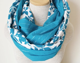 Doubled Up Scarf - Teal Floral Infinity Scarf
