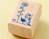 "Japanese Cat Wooden Rubber Stamp - Cat Watering Flower ""THANK YOU"" - Pottering Cat"