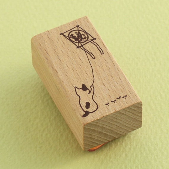 "Japanese Cat Wooden Rubber Stamp - ""Secret"" Cat Flying a Kite - Pottering Cat"
