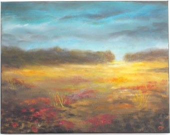 Landscape field painting with storm clouds 11x14 peaceful scenic landscape painting with poppies, red flowers