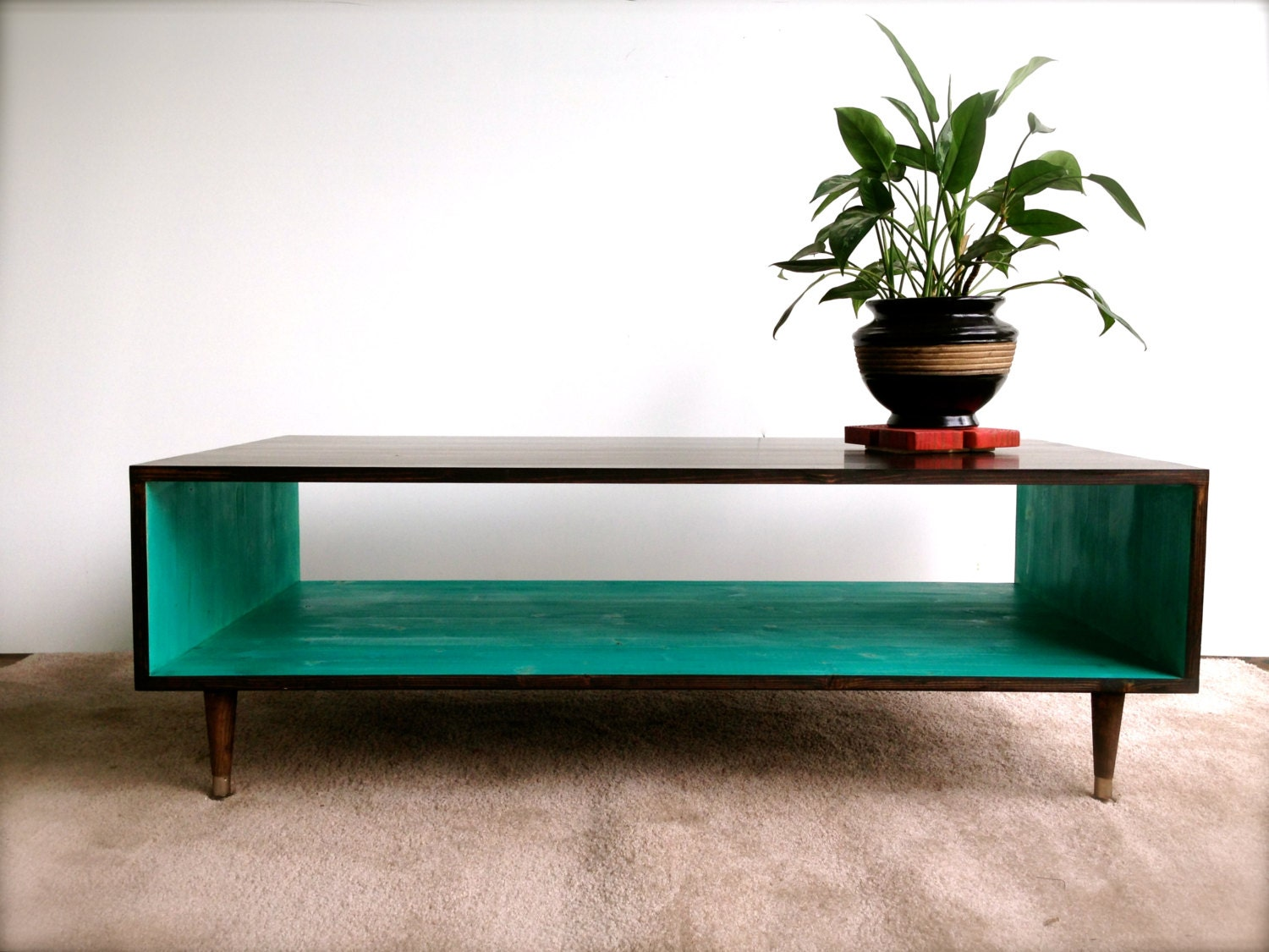 Free shipping handmade coffee table mid century modern for Mid century modern coffee table