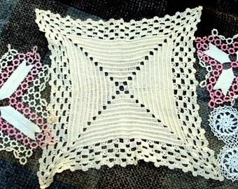Vintage Crochet Doilies,lot of 4,Square Ribbed Design,2 Chevron Crochet, Tatted border, Small Filet Crochet,Table Home Decor!