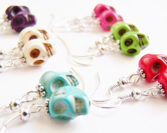 Sugar Skull Earrings - FREE Shipping WAI - Your choice of colors - Halloween October Spooky - trick or treat - punk - gothic