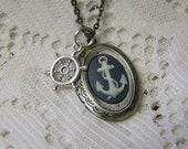 Anchors Away Locket Necklace - Anchors Aweigh - Navy Blue & White Nautical Cameo - Antiqued Silver - Ship's Wheel