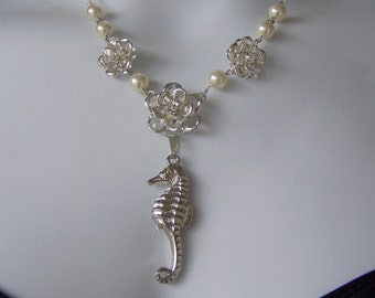 Seahorse and Crystals Necklace - Destination Beach Wedding - Silver-plated - Bride Necklace