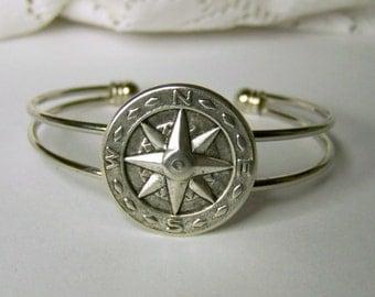 Compass Rose Bracelet  - Adjustable Silver Bangle Cuff - compass jewelry - Navigation - Traveler - True North - Maritime - Nautical