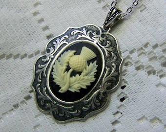 Scottish Thistle Cameo Pendant - Celtic Symbol of Nobility - Black & Ivory - Gothic - Scotland - Order of the Thistle - Scottish heritage
