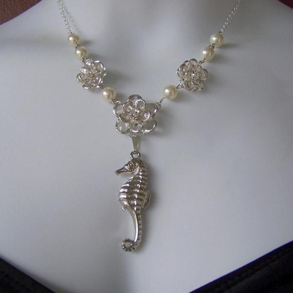 Seahorse and Crystals Necklace - Destination Beach Wedding - Silver-plated - Bride Necklace