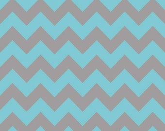 SALE - Riley Blake - Medium Chevron in Aqua / Gray
