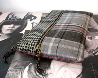 Grey Houndstooth and Plaid Large Zipper Clutch