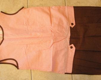 1960s Vintage Romper Jumpsuit Culottes Pants Shift Pink Brown