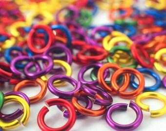 100 -  Rainbow Jump Rings Sample Package - 18, 20, 22, or 24 Gauge - Primary Colors
