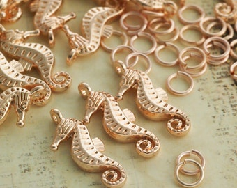 5 Rose Gold Plated Seahorse Charms - 21mm X 8mm - Matching Jump Rings Included - 100% Guarantee