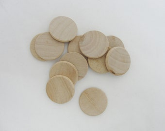 """25 1"""" wooden Circles, 1 inch wood disc, disk 1/8"""" thick unfinished DIY rounded edges"""