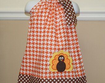 girls thanksgiving dress, applique turkey Pillowcase dress, thanksgiving outfit orange houndstooth brown